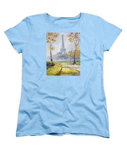 Paris Eiffel Tower From Trocadero Park Women's T-Shirt (Standard Cut)