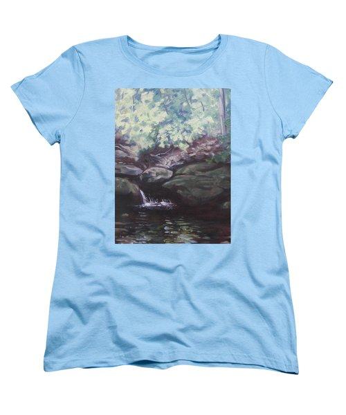 Paris Mountain Waterfall Women's T-Shirt (Standard Cut) by Robert Decker
