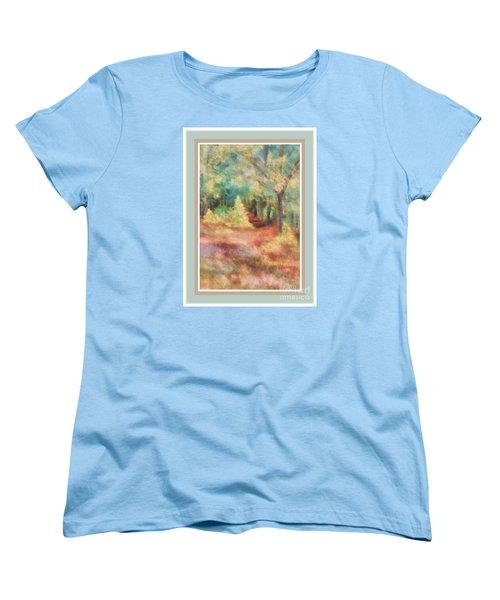 Path Shortcut Green Border Women's T-Shirt (Standard Cut) by Shirley Moravec