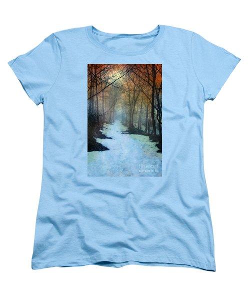 Path Through The Woods In Winter At Sunset Women's T-Shirt (Standard Cut) by Jill Battaglia
