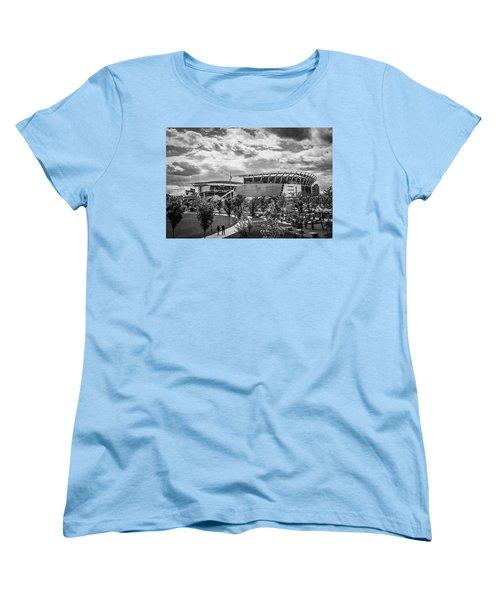 Paul Brown Stadium Black And White Women's T-Shirt (Standard Cut) by Scott Meyer