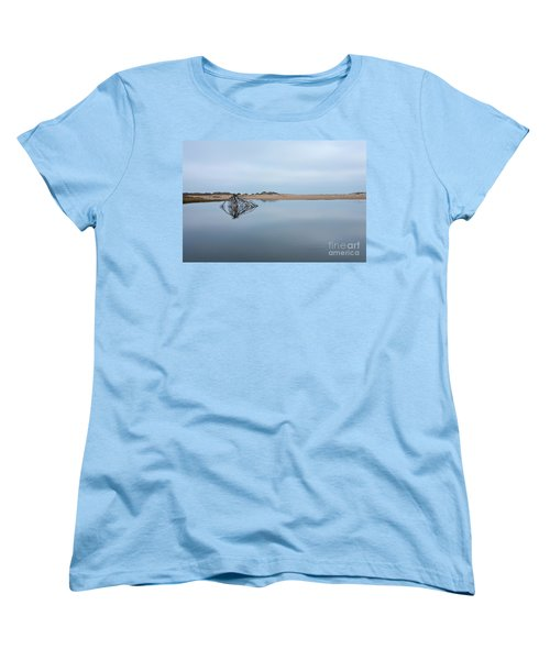 Women's T-Shirt (Standard Cut) featuring the photograph Peaceful Tidepool On The Outer Banks by Dan Carmichael