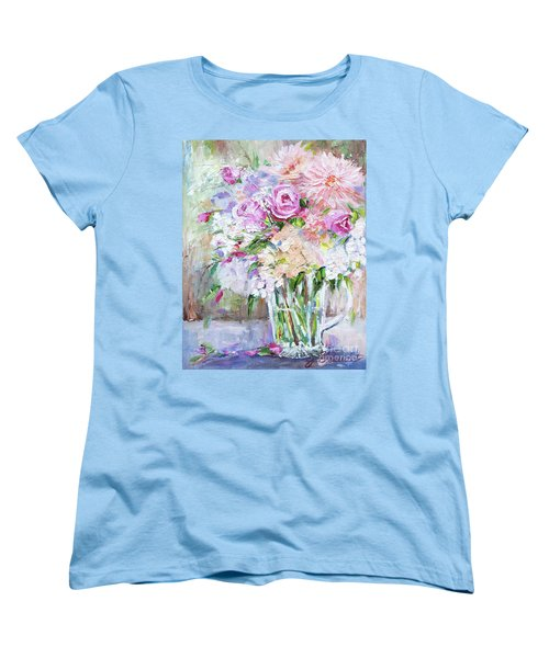 Women's T-Shirt (Standard Cut) featuring the painting Peach And Pink Bouquet by Jennifer Beaudet