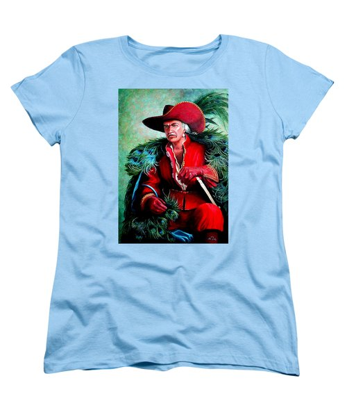 Women's T-Shirt (Standard Cut) featuring the painting Peacock Feathers Connery by Loxi Sibley