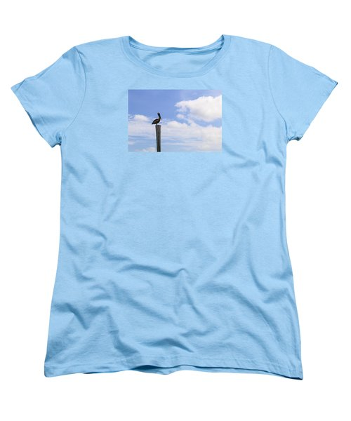 Pelican In The Clouds Women's T-Shirt (Standard Cut) by Christopher L Thomley