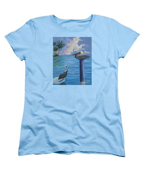 Pelican Pals Women's T-Shirt (Standard Cut) by Anne Marie Brown