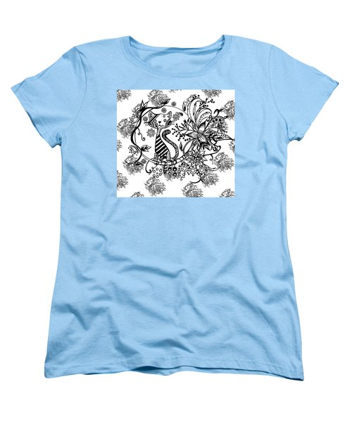 Women's T-Shirt (Standard Cut) featuring the drawing Pen And Ink Cat Pattern Black And White by Saribelle Rodriguez