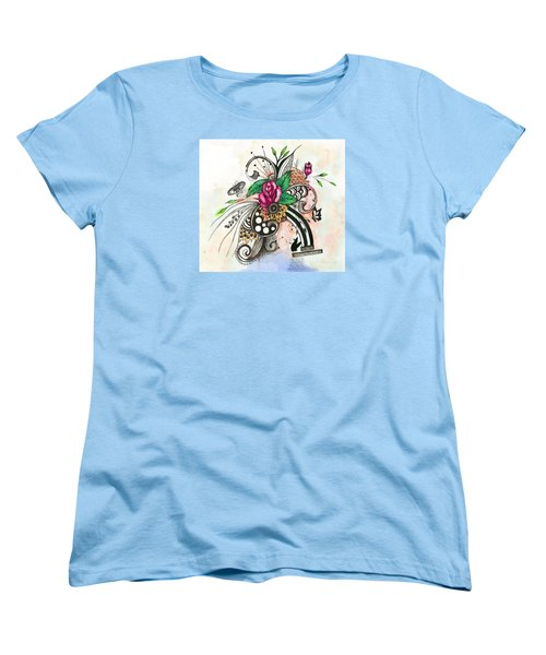 Women's T-Shirt (Standard Cut) featuring the drawing Pen And Ink Drawing Rose Colorful  Art by Saribelle Rodriguez