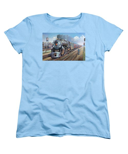 Women's T-Shirt (Standard Cut) featuring the painting Penn Central Pacific. by Mike Jeffries