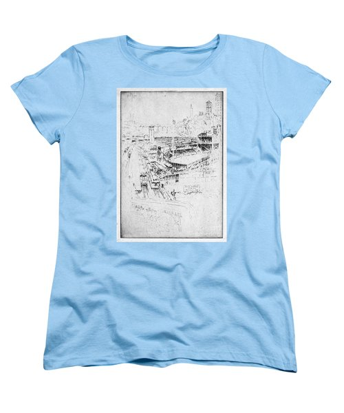 Women's T-Shirt (Standard Cut) featuring the drawing Pennell Polo Grounds 1921 by Granger