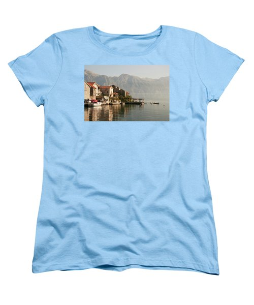 Women's T-Shirt (Standard Cut) featuring the photograph Perast Restaurant by Phyllis Peterson