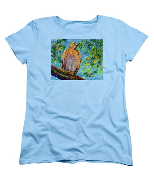 Women's T-Shirt (Standard Cut) featuring the painting Perched Hawk by AnnaJo Vahle