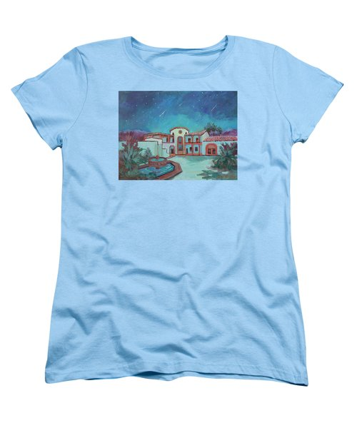 Women's T-Shirt (Standard Cut) featuring the painting Perseids Meteor Shower From La Quinta Museum by Diane McClary