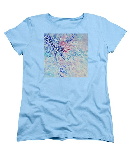 Women's T-Shirt (Standard Cut) featuring the painting Petals And Ice by Joanne Smoley