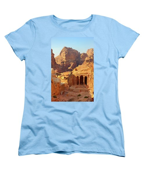 Women's T-Shirt (Standard Cut) featuring the photograph Petra Buildings, Pond And Gardens Complex by Nicola Nobile