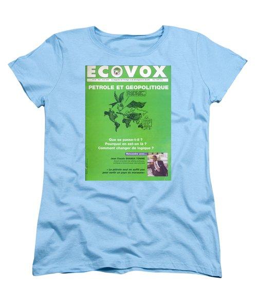 Women's T-Shirt (Standard Cut) featuring the painting Petrole Et Geopolitique by Emmanuel Baliyanga