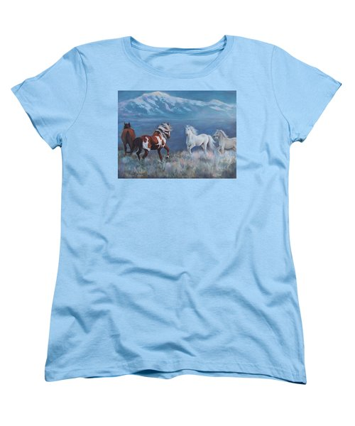 Women's T-Shirt (Standard Cut) featuring the painting Phantom Of The Mountains by Karen Chatham