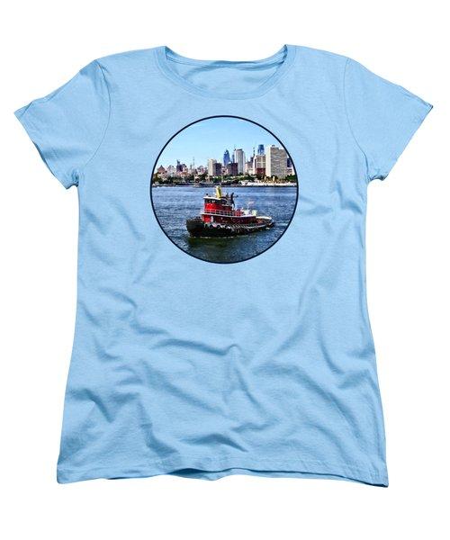 Philadelphia Pa - Tugboat By Philadelphia Skyline Women's T-Shirt (Standard Cut) by Susan Savad