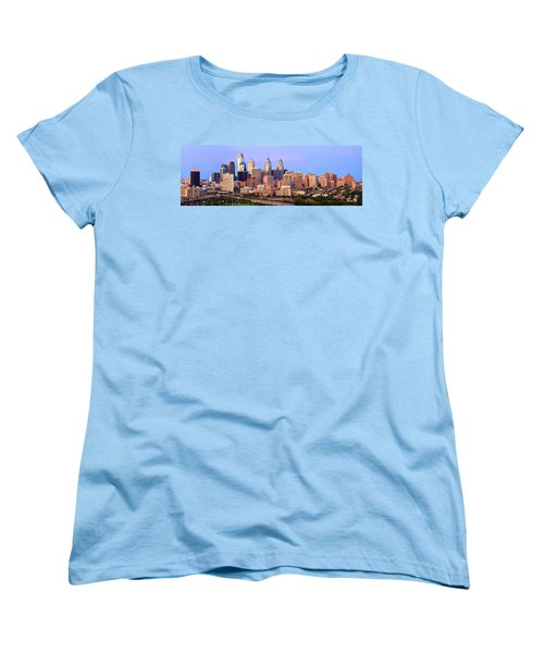 Philadelphia Skyline At Dusk Sunset Pano Women's T-Shirt (Standard Cut) by Jon Holiday