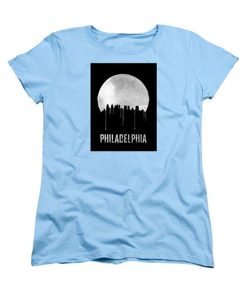 Philadelphia Skyline Black Women's T-Shirt (Standard Cut) by Naxart Studio