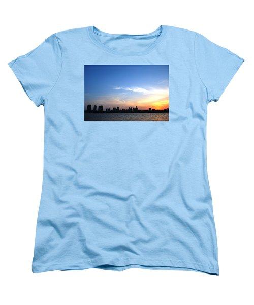 Philadelphia Skyline Low Horizon Sunset Women's T-Shirt (Standard Cut) by Matt Harang