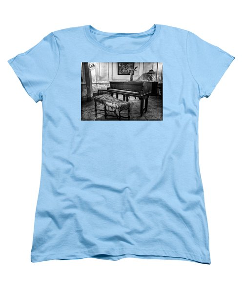 Women's T-Shirt (Standard Cut) featuring the photograph Piano At Josie's House Bw by Joan Carroll