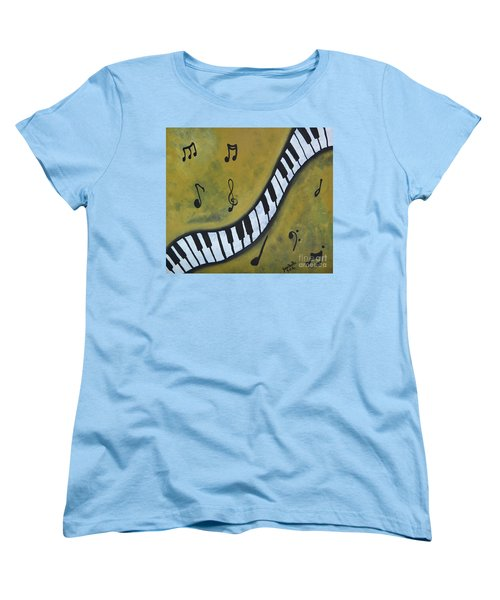 Women's T-Shirt (Standard Cut) featuring the painting Piano Music Abstract Art By Saribelle by Saribelle Rodriguez