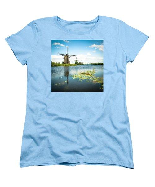 Women's T-Shirt (Standard Cut) featuring the photograph Picturesque Kinderdijk by Hannes Cmarits