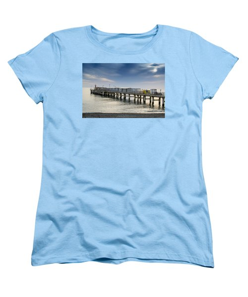 Women's T-Shirt (Standard Cut) featuring the photograph Pier At Sunset by John Williams