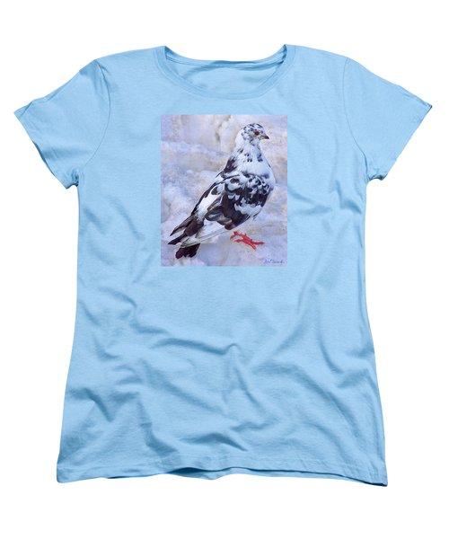 Pigeon On Ice  1 Women's T-Shirt (Standard Cut) by John Selmer Sr