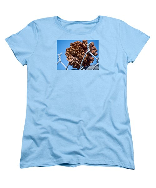Pine Cone On The Fence Women's T-Shirt (Standard Cut) by Cathy Jourdan