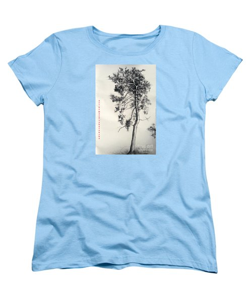 Women's T-Shirt (Standard Cut) featuring the drawing Pine Drawing by Maja Sokolowska