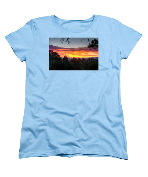 Pine Sunrise Women's T-Shirt (Standard Cut) by Fiskr Larsen