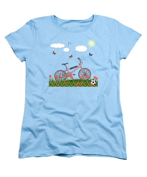 Pink Bicycle Women's T-Shirt (Standard Cut) by Gaspar Avila