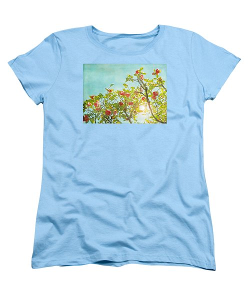 Pink Camellia Japonica Blossoms And Sun In Blue Sky Women's T-Shirt (Standard Cut) by Brooke T Ryan