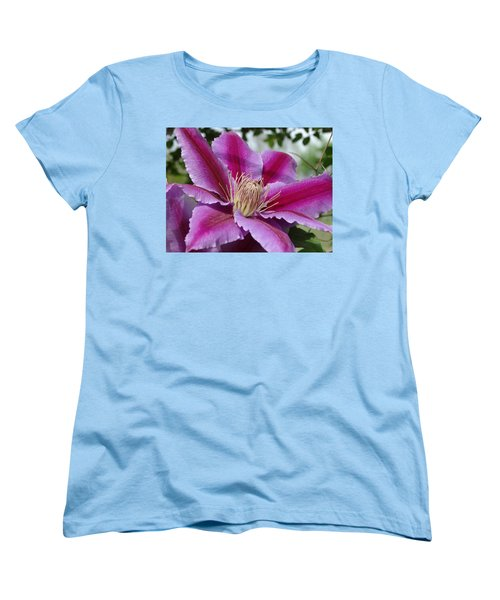 Women's T-Shirt (Standard Cut) featuring the photograph Pink Clematis Vine by Rebecca Overton