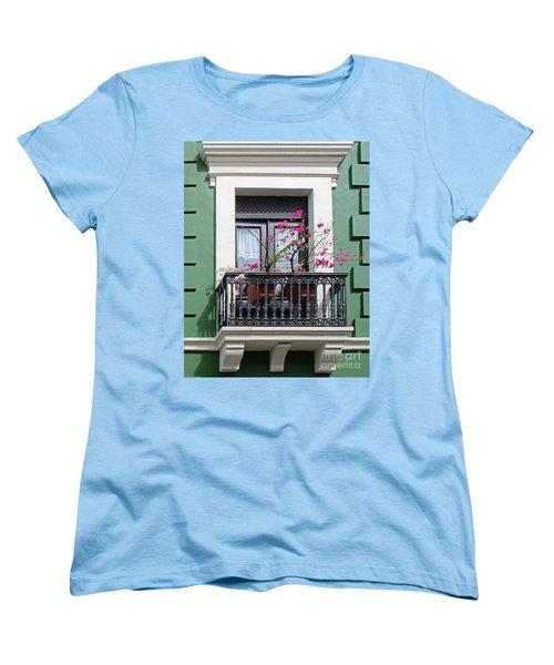 Pink Flowers On Balcony Women's T-Shirt (Standard Cut) by Cheryl Del Toro