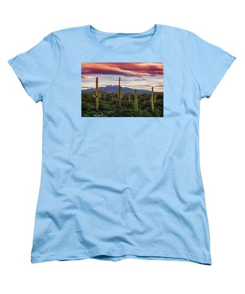 Women's T-Shirt (Standard Cut) featuring the photograph Pink Four Peaks Sunset  by Saija Lehtonen