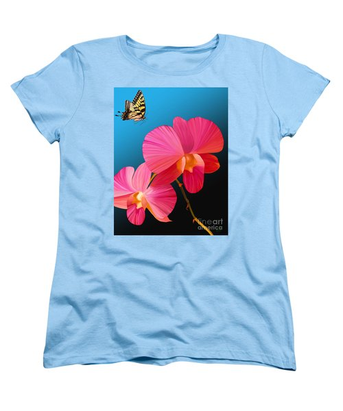 Pink Lux Butterfly Women's T-Shirt (Standard Cut) by Rand Herron