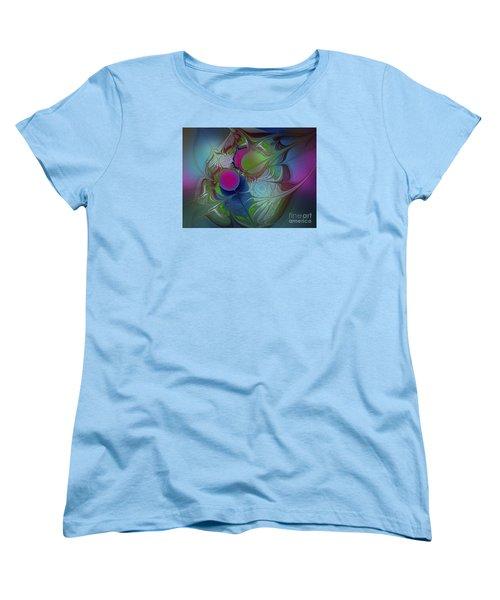 Women's T-Shirt (Standard Cut) featuring the digital art Pink Ping Pong Ball by Karin Kuhlmann
