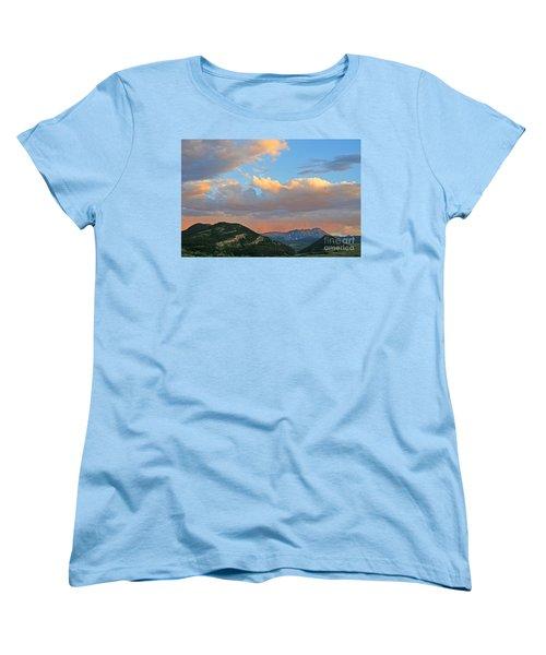 Women's T-Shirt (Standard Cut) featuring the photograph Pink Rain Over The Sleeping Indian by Paula Guttilla