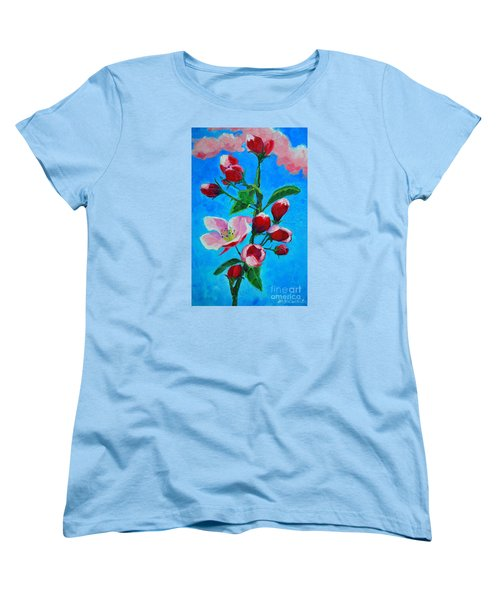 Women's T-Shirt (Standard Cut) featuring the painting Pink Spring by Ana Maria Edulescu