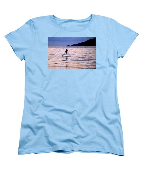 Women's T-Shirt (Standard Cut) featuring the photograph Pink Water Girl by Jim Walls PhotoArtist