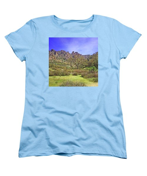 Women's T-Shirt (Standard Cut) featuring the photograph Pinnacles National Park Watercolor by Art Block Collections