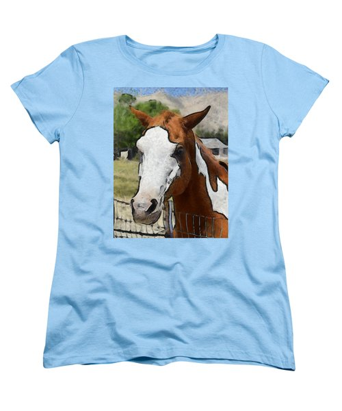 Women's T-Shirt (Standard Cut) featuring the photograph Pinto In The Pasture Portrait  by Barbara Snyder