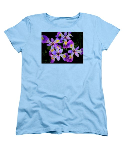 Pinwheel Purple Iris Glow Women's T-Shirt (Standard Cut) by Penny Lisowski
