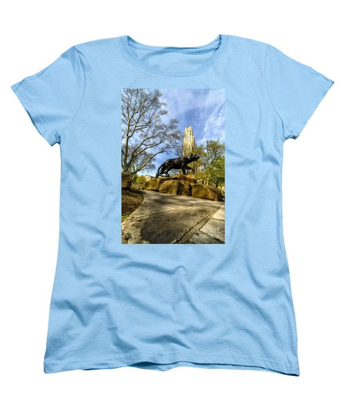 Pitt Panther Cathedral Of Learning Women's T-Shirt (Standard Cut) by Thomas R Fletcher