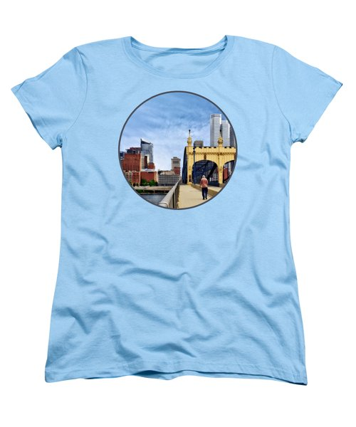 Pittsburgh Pa - Crossing The Smithfield Street Bridge Women's T-Shirt (Standard Cut) by Susan Savad