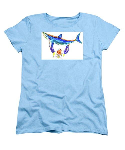 Women's T-Shirt (Standard Cut) featuring the photograph Pittsburgh Penguins Nhl Conquer San Jose Sharks by David Haskett