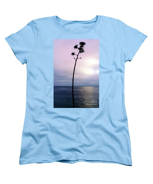 Women's T-Shirt (Standard Cut) featuring the photograph Plant Silhouette Over Ocean by Mariola Bitner